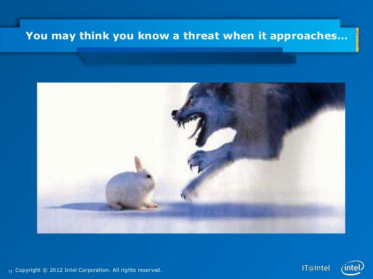 You may think you know a threat when it approaches…11 Copyright © 2012 Intel Corporation. All rights reserved.