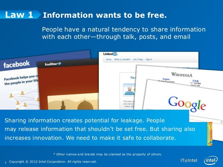 Law 1                    Information wants to be free.                        People have a natural tendency to share info...