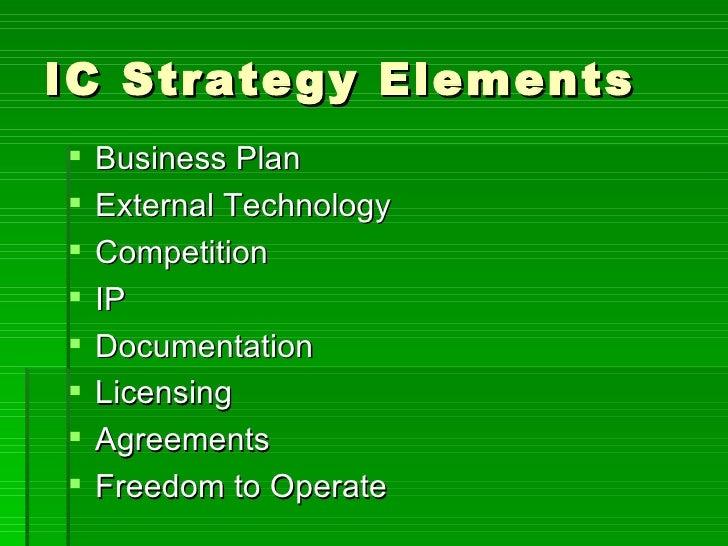 IC Strategy Elements <ul><li>Business Plan </li></ul><ul><li>External Technology </li></ul><ul><li>Competition </li></ul><...