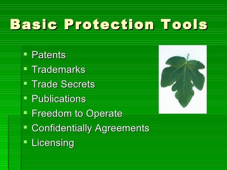 Basic Protection Tools <ul><li>Patents </li></ul><ul><li>Trademarks </li></ul><ul><li>Trade Secrets  </li></ul><ul><li>Pub...