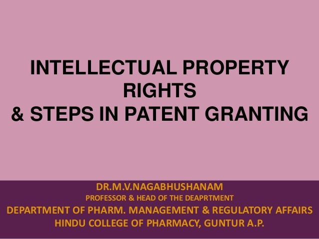 Intellectual Property Rights Patent Filing Procedures