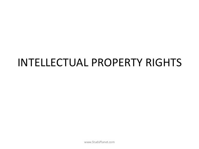 INTELLECTUAL PROPERTY RIGHTS www.StudsPlanet.com
