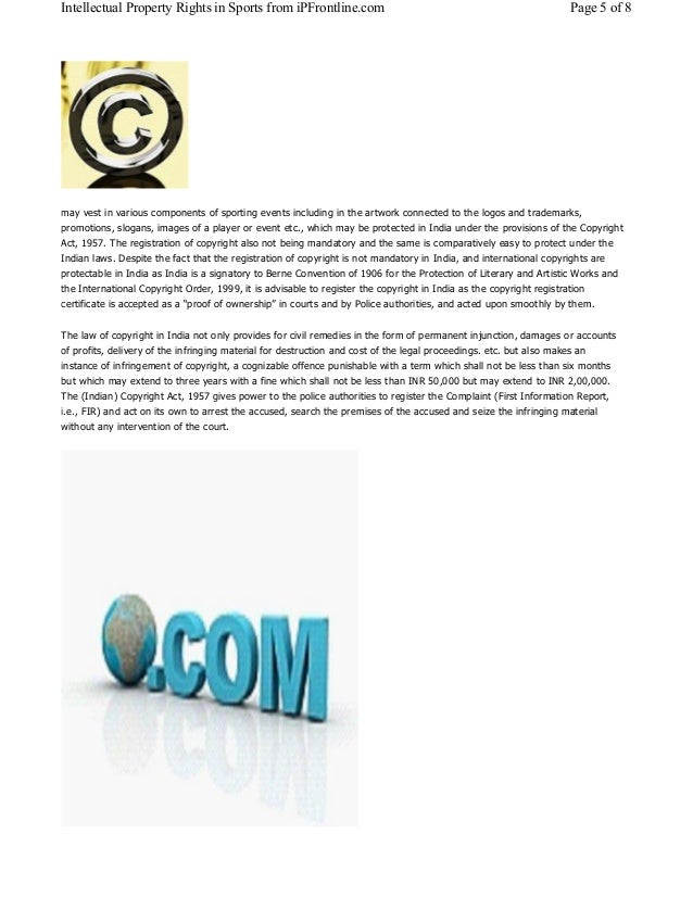 Intellectual Property Rights in Sports from iPFrontline.com Page 5 of 8  may vest in various components of sporting events...