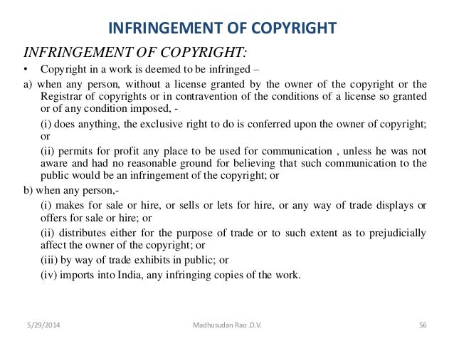 infringement of copyright infringement