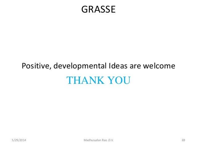 GRASSE Positive, developmental Ideas are welcome THANK YOU 5/29/2014 Madhusudan Rao .D.V. 69