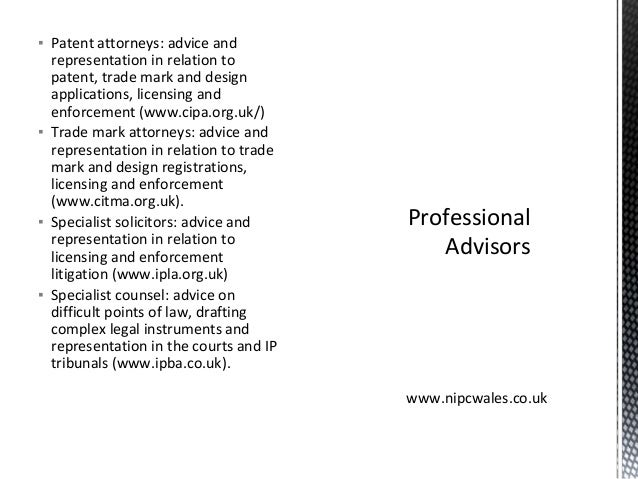 ▪ Patent attorneys: advice and representation in relation to patent, trade mark and design applications, licensing and enf...