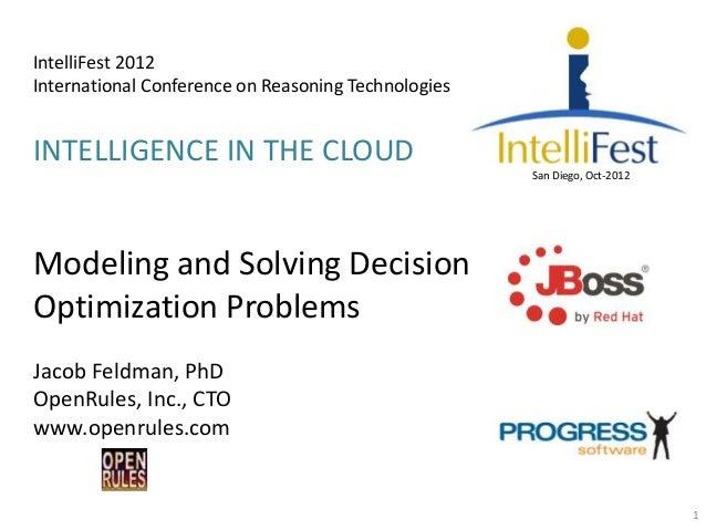 IntelliFest 2012International Conference on Reasoning TechnologiesINTELLIGENCE IN THE CLOUD                               ...