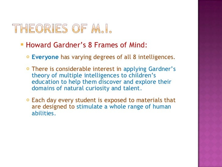 the theory of multiple intelligence in frames of mind by howard gardner