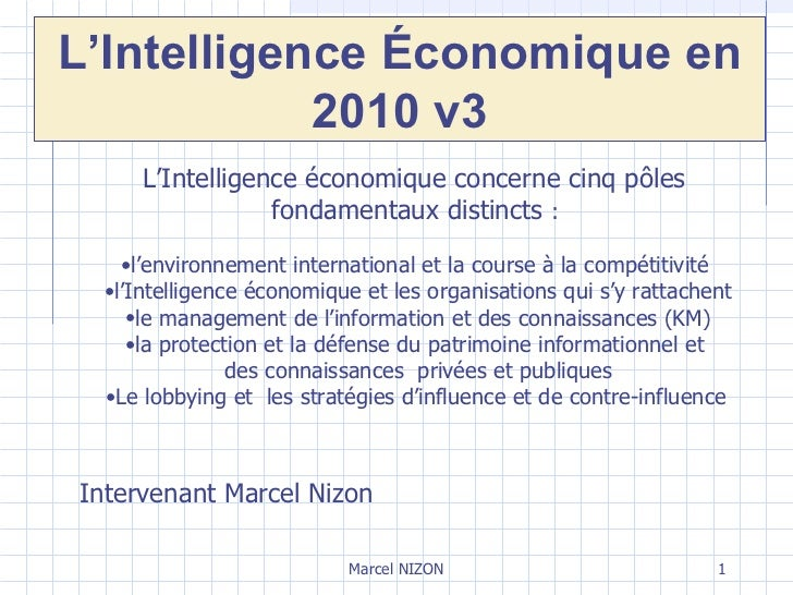 Marcel NIZON <ul><li>L'Intelligence économique concerne cinq pôles  fondamentaux distincts  :  </li></ul><ul><li>l'environ...