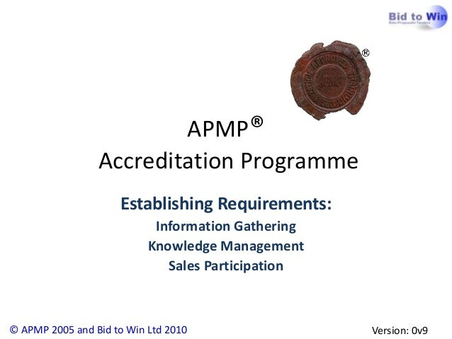 APMP®                 Accreditation Programme                     Establishing Requirements:                            In...