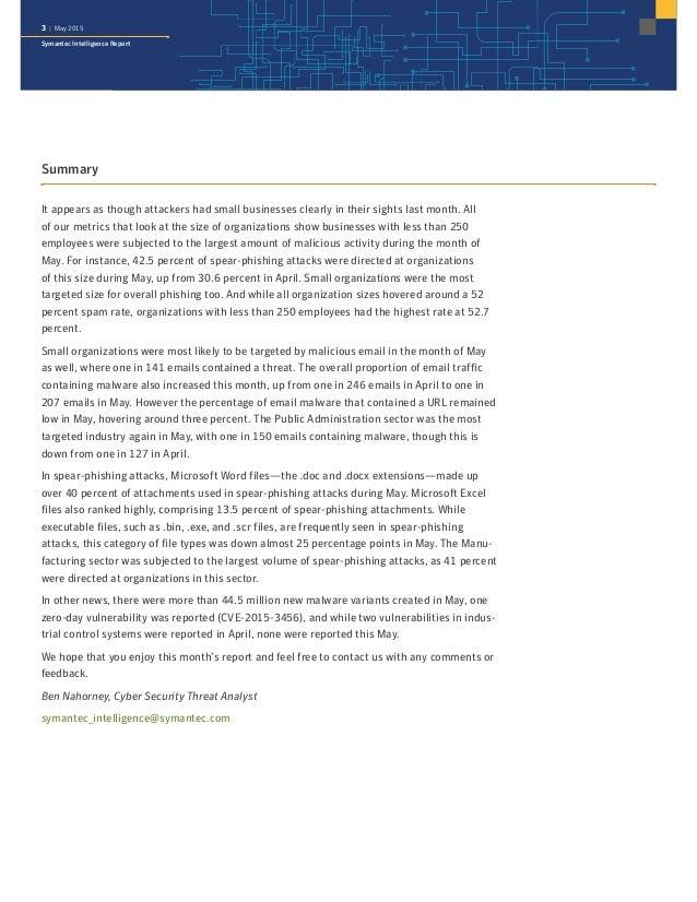 Symantec Intelligence Report: May 2015 Slide 3