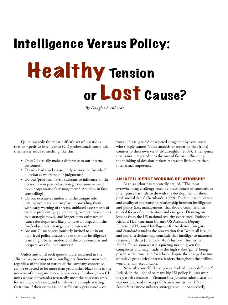 Intelligence Versus Policy:            Healthy Tension                or Lost Cause?                                      ...