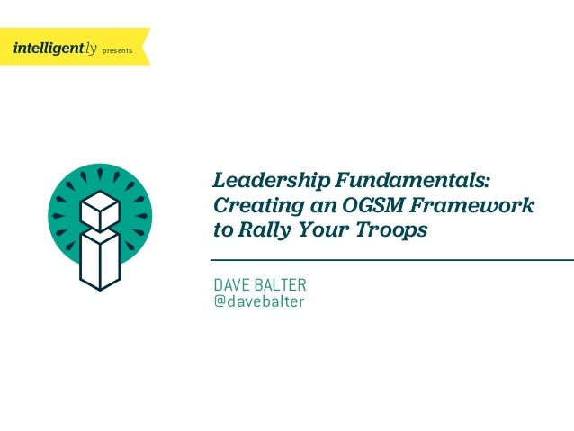 presentsLeadership Fundamentals:Creating an OGSM Frameworkto Rally Your TroopsDAVE BALTER@davebalter