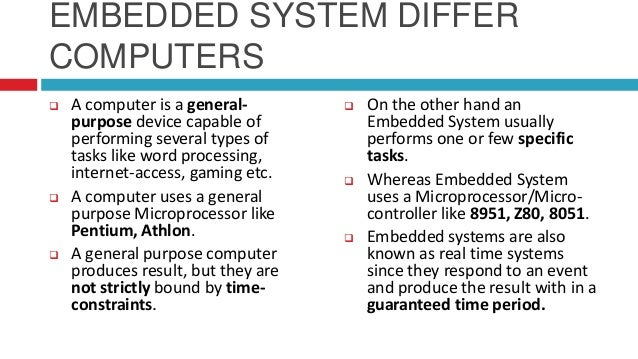 embedded intelligent system Distributed, embedded and intelligent systems is one of three research units at  the department of computer science the unit covers real-time and distributed.