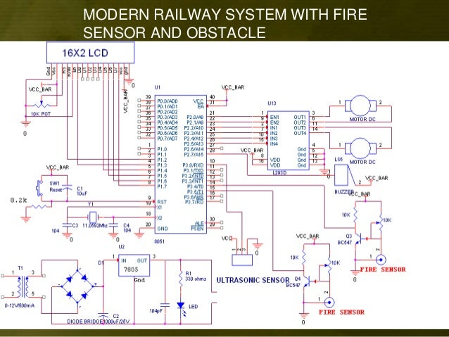 modern railway system with fire sensor and obstacle