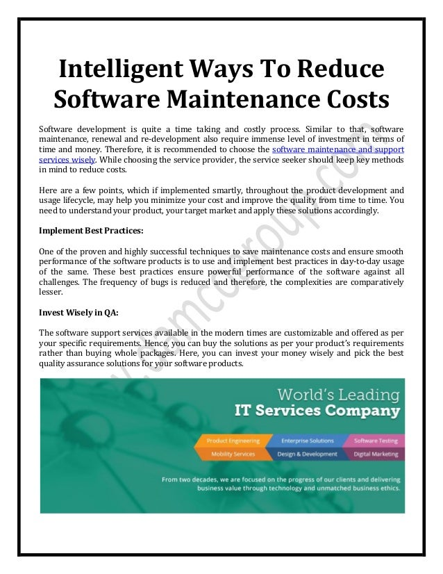 Intelligent Ways To Reduce Software Maintenance Costs