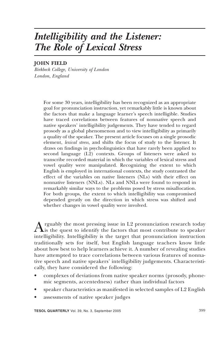 Intelligibility and the Listener: The Role of Lexical Stress JOHN FIELD Birkbeck College, University of London London, Eng...