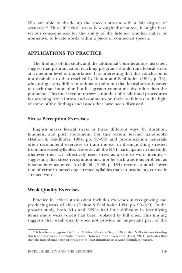 intelligibility and the listener the role of lexical stress 418 tesol quarterly 21