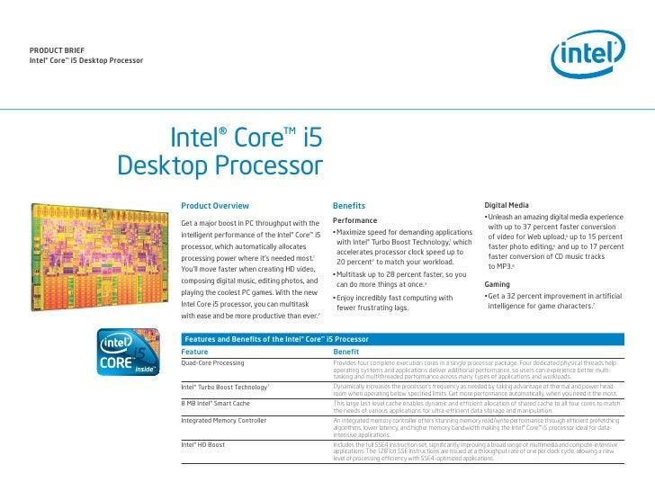PrODuct Brief intel® core™ i5 Desktop Processor                                  Intel® Core™ i5                          ...