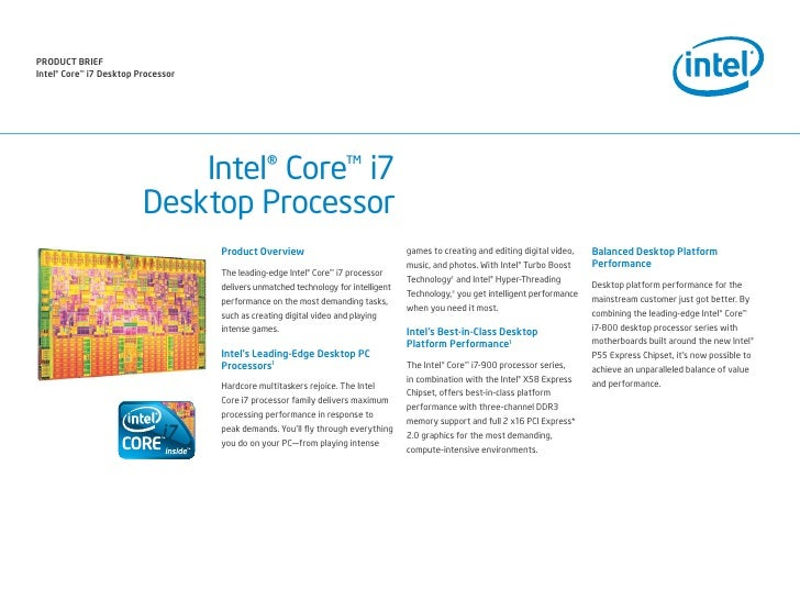 PrODuCt BrIEf Intel® Core™ i7 Desktop Processor                                  Intel® Core™ i7                          ...