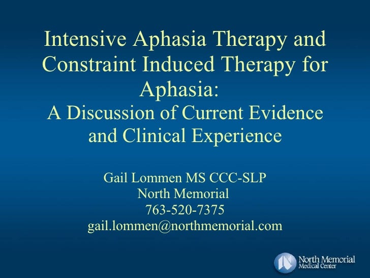 Intensive Aphasia Therapy and Constraint Induced Therapy for Aphasia:  A Discussion of Current Evidence and Clinical Exper...