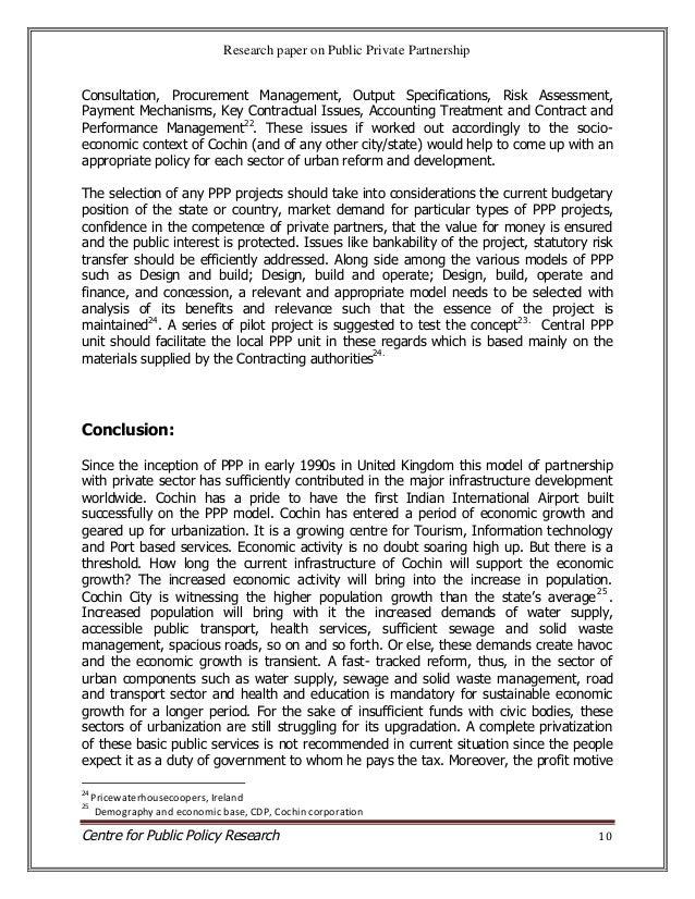 Public private partnership research paper