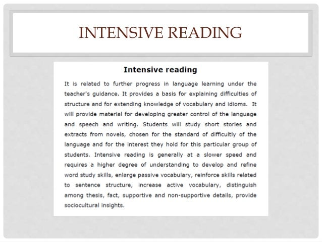 intensive and even extensive reading essay