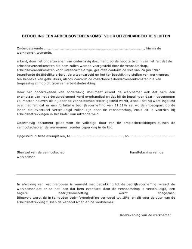 intentieverklaring arbeidsovereenkomst Intentieverklaring Arbeidsovereenkomst   gantinova