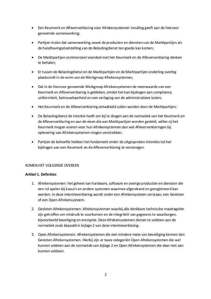 Intentieverklaring Keurmerk Het Betrouwbare Afrekensysteem V0.8