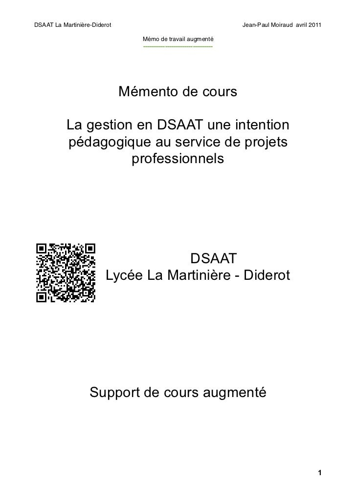 DSAAT La Martinière-Diderot                                            Jean-Paul Moiraud avril 2011                       ...