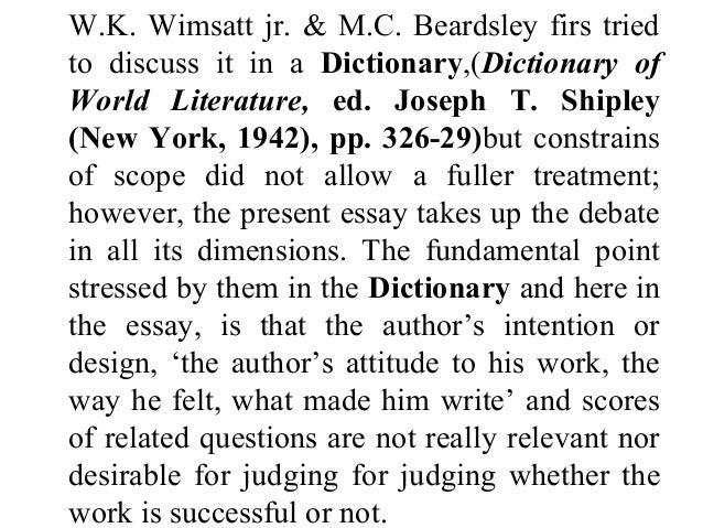 Key Theories of Wimsatt and Beardsley
