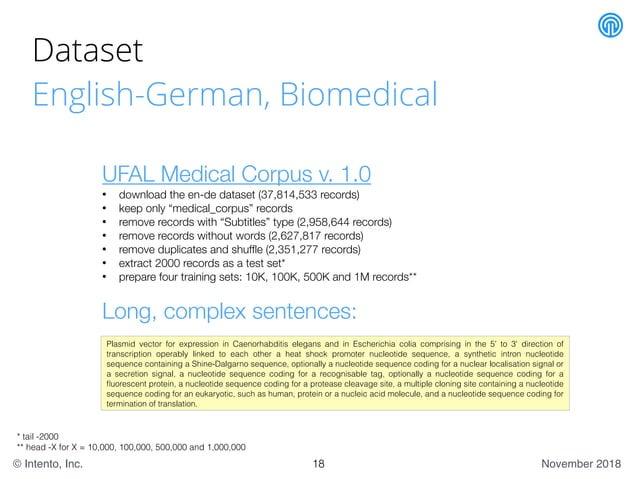 November 2018© Intento, Inc. Dataset English-German, Biomedical UFAL Medical Corpus v. 1.0 • download the en-de dataset (3...