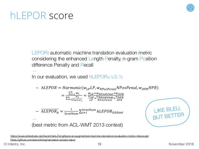 November 2018© Intento, Inc. hLEPOR score LEPOR: automatic machine translation evaluation metric considering the enhanced ...