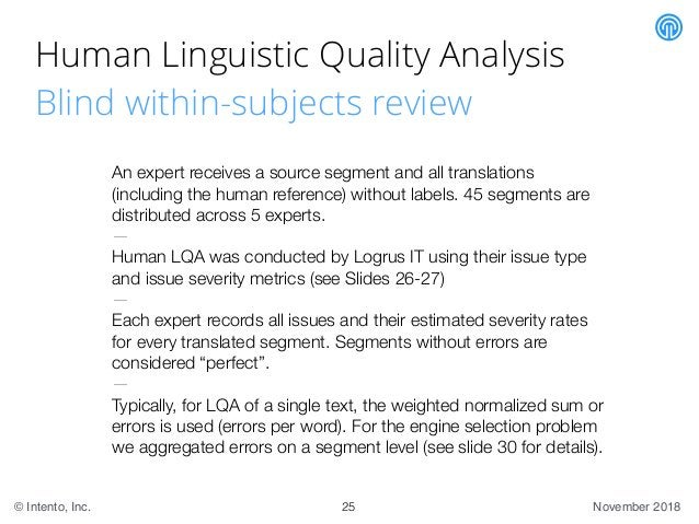 November 2018© Intento, Inc. Human Linguistic Quality Analysis Blind within-subjects review An expert receives a source se...