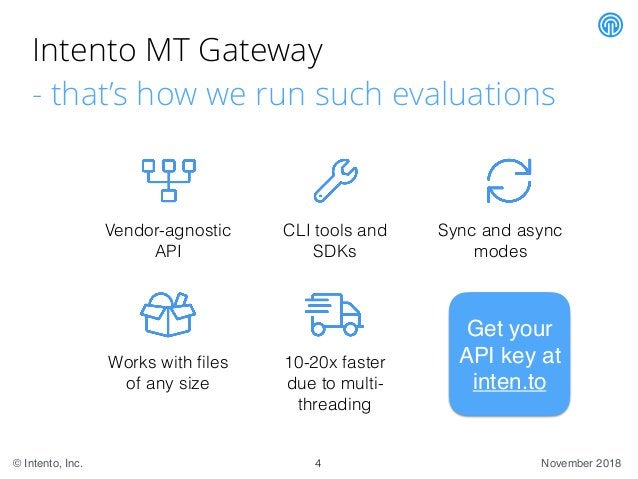 November 2018© Intento, Inc. Intento MT Gateway - that's how we run such evaluations Vendor-agnostic API Sync and async mo...