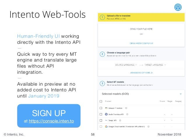 November 2018© Intento, Inc. Intento Web-Tools Human-Friendly UI working directly with the Intento API — Quick way to try ...