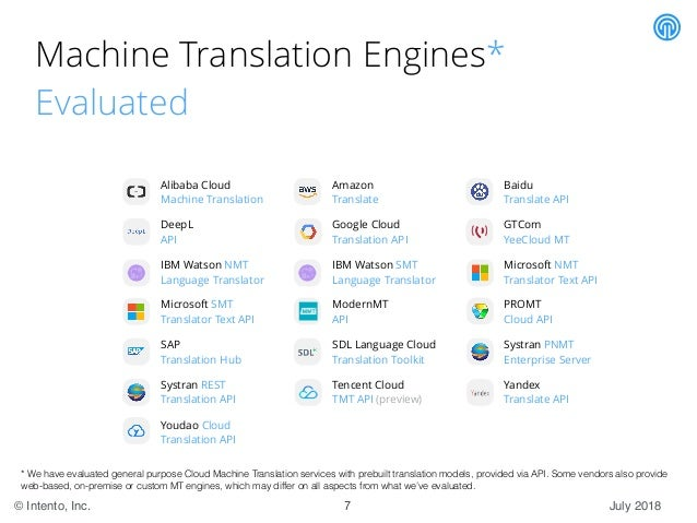 State of the Machine Translation by Intento (July 2018)
