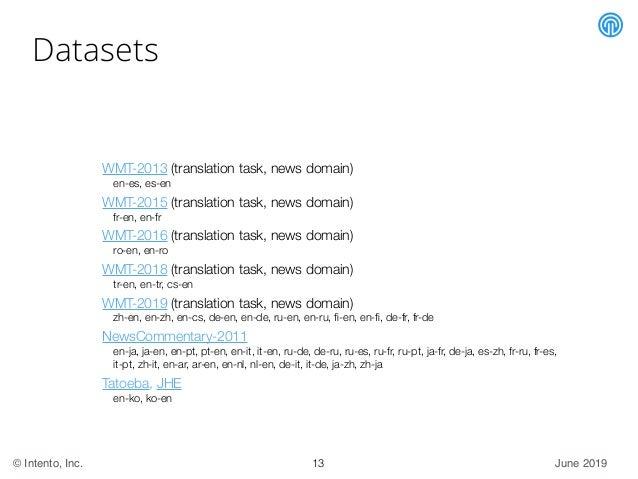 June 2019© Intento, Inc. Datasets WMT-2013 (translation task, news domain) en-es, es-en WMT-2015 (translation task, news d...