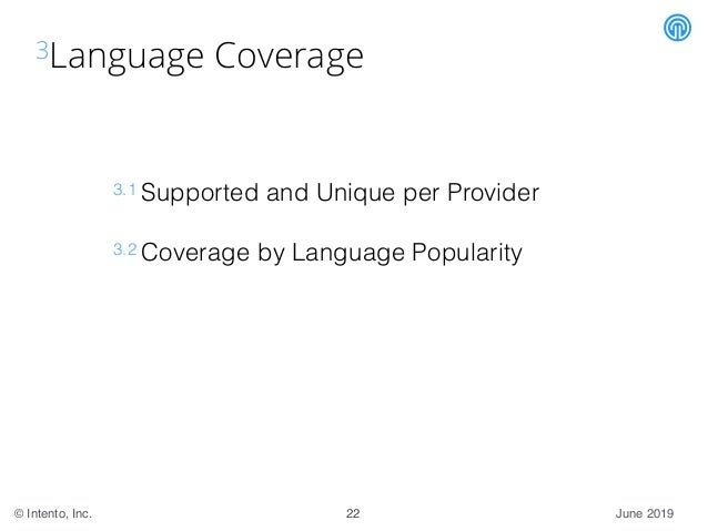 June 2019© Intento, Inc. 3Language Coverage 3.1 Supported and Unique per Provider 3.2 Coverage by Language Popularity 22