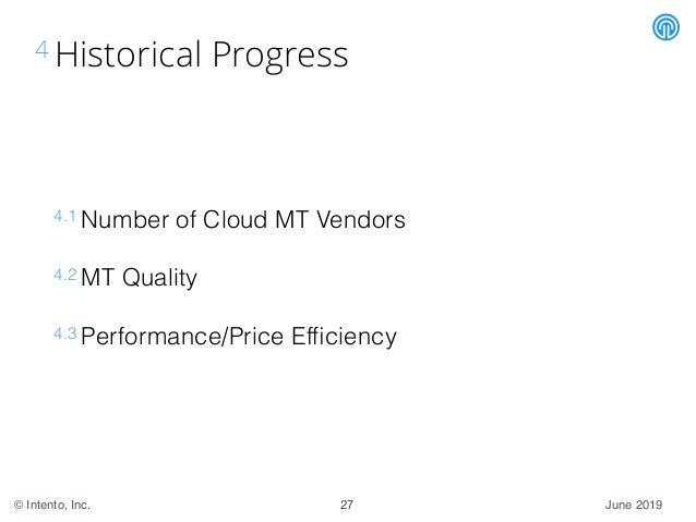 June 2019© Intento, Inc. 4 Historical Progress 4.1 Number of Cloud MT Vendors 4.2 MT Quality 4.3 Performance/Price Efficien...