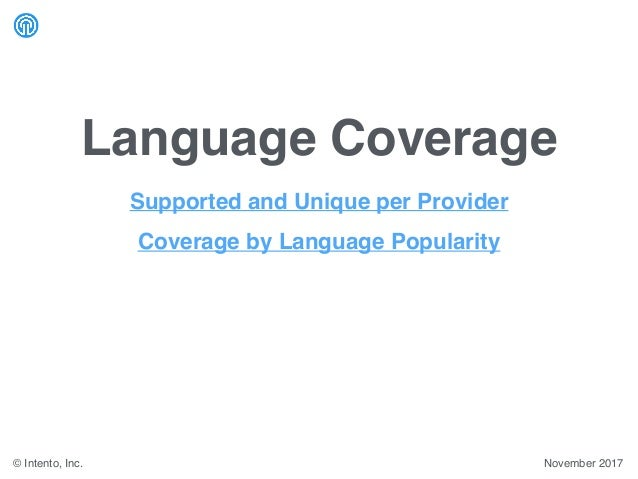 Language Coverage November 2017© Intento, Inc. Supported and Unique per Provider Coverage by Language Popularity
