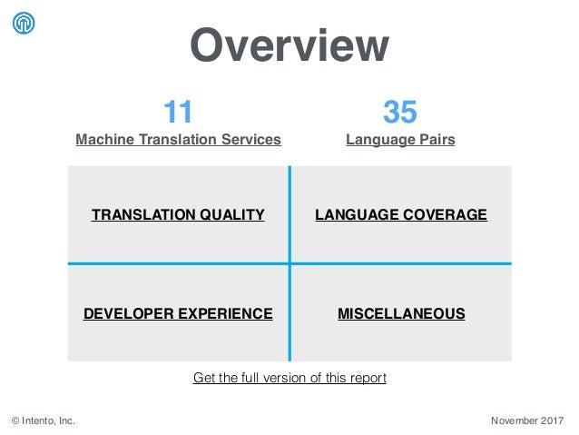 Overview © Intento, Inc. November 2017 11 Machine Translation Services 35 Language Pairs TRANSLATION QUALITY LANGUAGE COVE...