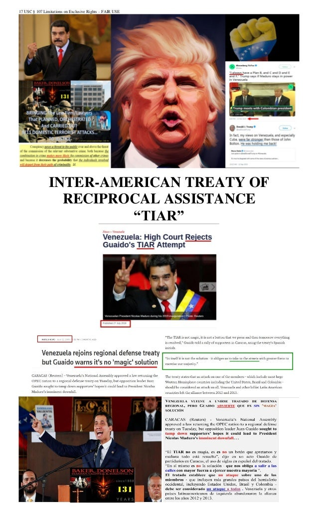"17 USC § 107 Limitations on Exclusive Rights – FAIR USE INTER-AMERICAN TREATY OF RECIPROCAL ASSISTANCE ""TIAR"""