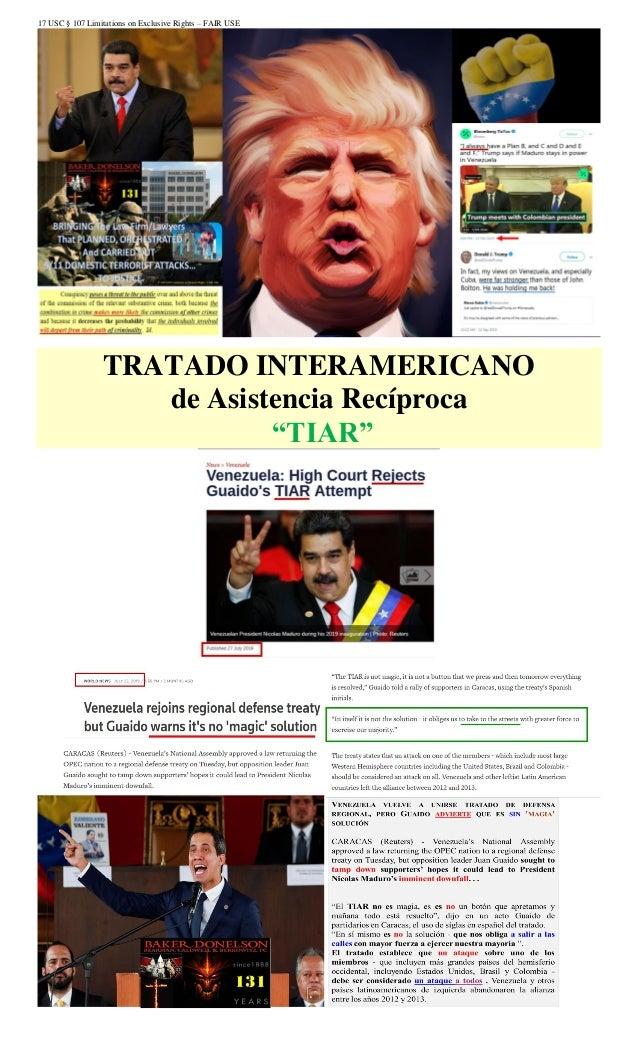 """17 USC § 107 Limitations on Exclusive Rights – FAIR USE TRATADO INTERAMERICANO de Asistencia Recíproca """"TIAR"""""""