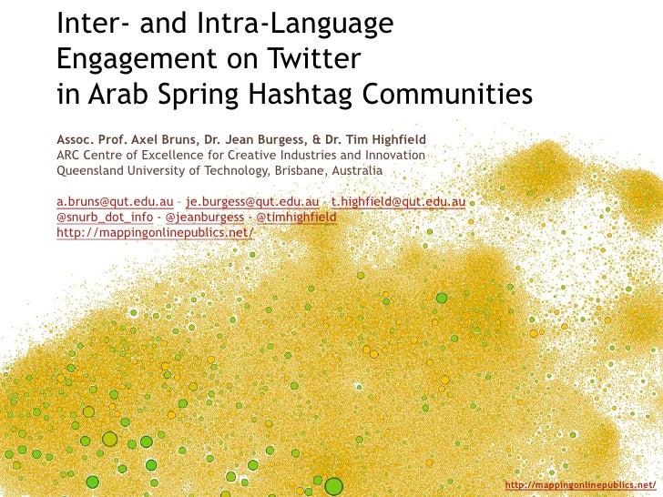Inter- and Intra-LanguageEngagement on Twitterin Arab Spring Hashtag CommunitiesAssoc. Prof. Axel Bruns, Dr. Jean Burgess,...