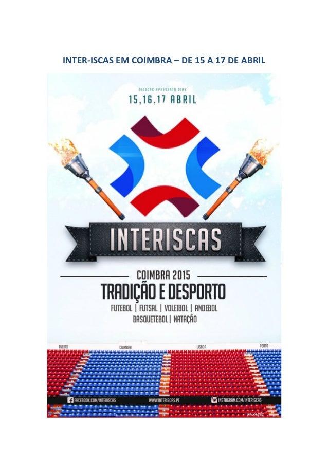 INTER-ISCAS EM COIMBRA – DE 15 A 17 DE ABRIL