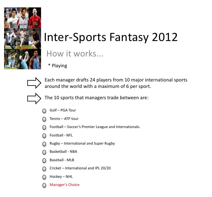 Inter-Sports Fantasy 2012<br />How it works...<br />* Playing<br />Each manager drafts 24 players from 10 major internatio...