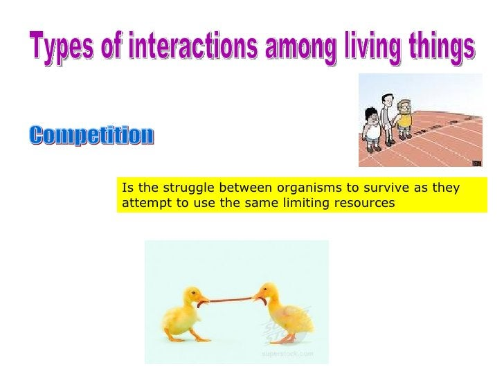 Types of interactions among living things Competition Is the struggle between organisms to survive as they attempt to use ...