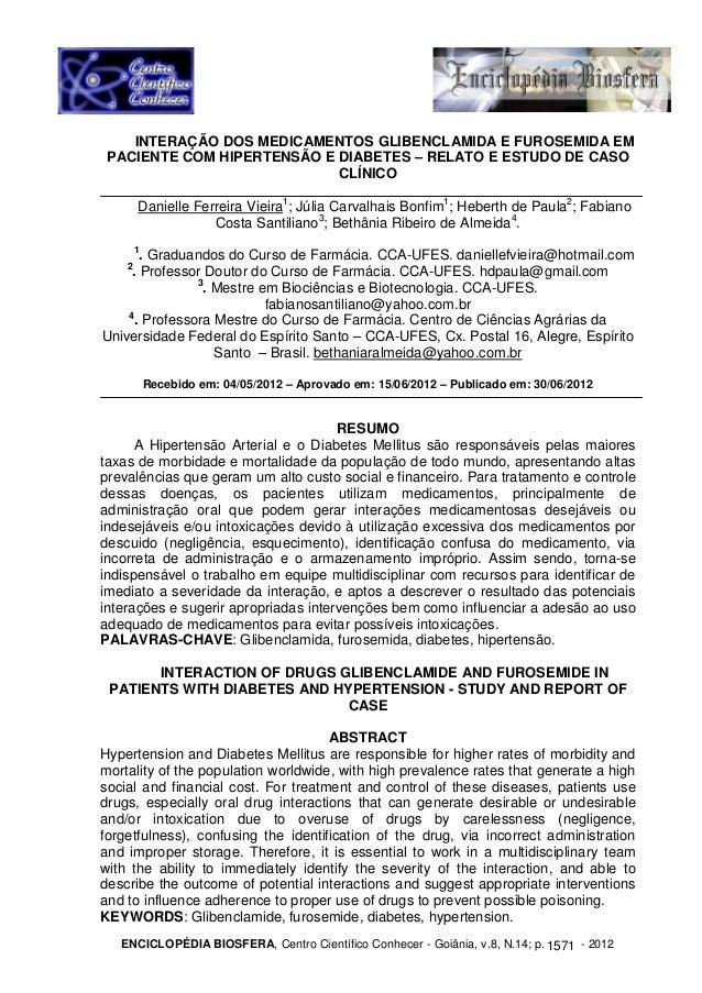 INTERAÇÃO DOS MEDICAMENTOS GLIBENCLAMIDA E FUROSEMIDA EM  PACIENTE COM HIPERTENSÃO E DIABETES – RELATO E ESTUDO DE CASO  C...