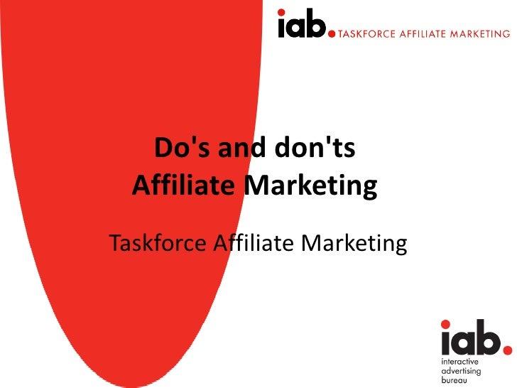 Dos and donts  Affiliate MarketingTaskforce Affiliate Marketing